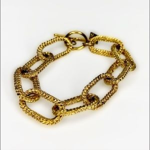 Anne Klein Gold Tone Textured Chunky LInk Bracelet